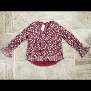 Lucky Brand Tops - Lucky Brand Red Multi Border Print Bell Sleeve Top